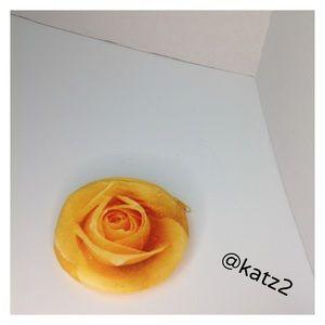 Handbags - Plush 3-D Rose Photo Zippered Coin Purse - NWOT